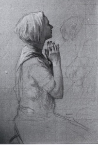 Woman-Praying-study-for-via-dolorosa_-1927_-Chalk-drawings-on-paper