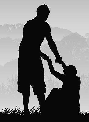 Silhouette Standing man helping man get up